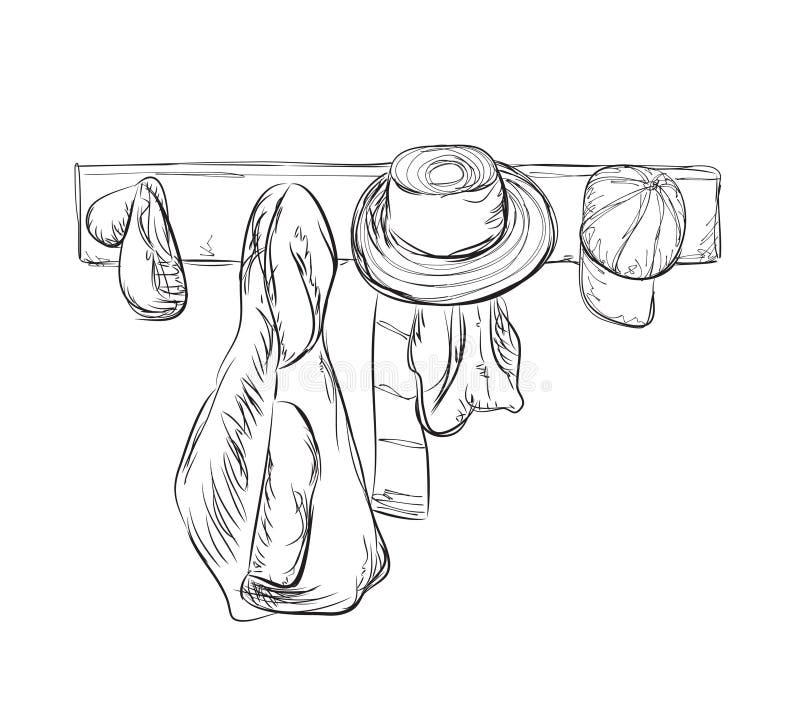 Ropa y sombrero de la suspensión stock de ilustración