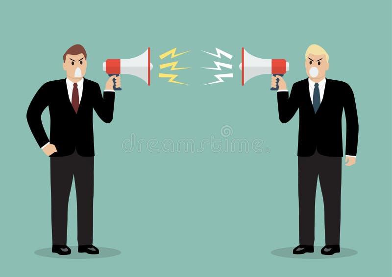 Ropar ilsken affärsman två på de med megafoner royaltyfri illustrationer
