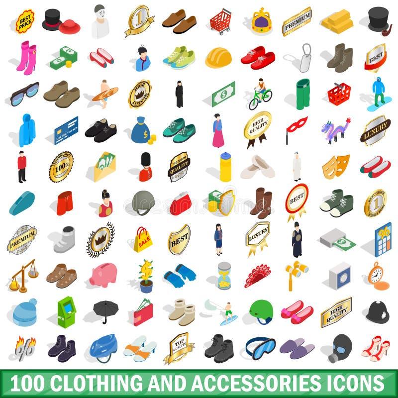 100 ropas e iconos de los accesorios fijados ilustración del vector