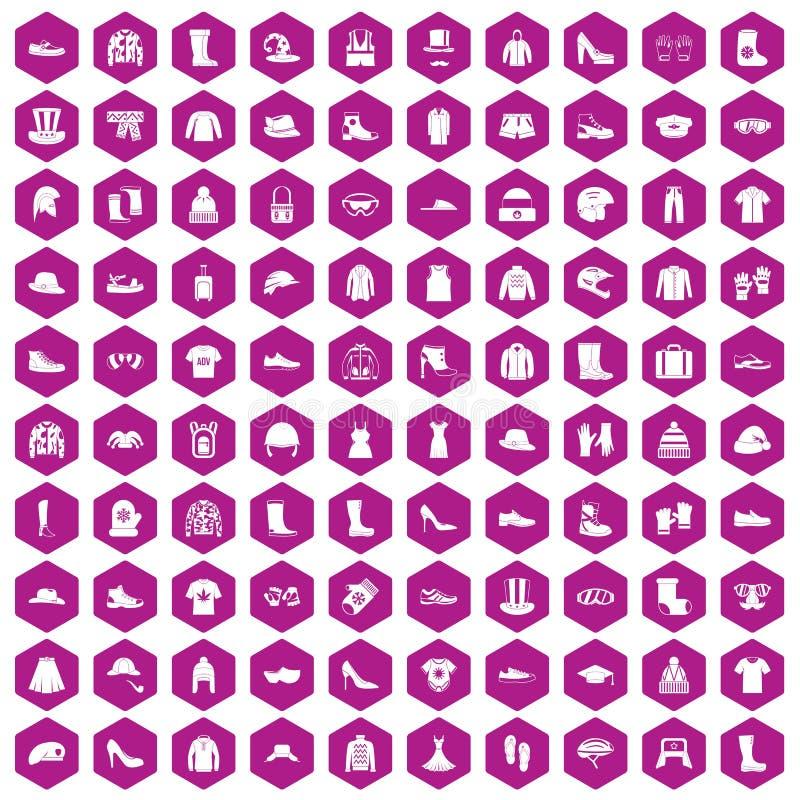 100 ropas y violetas del hexágono de los iconos de los accesorios libre illustration