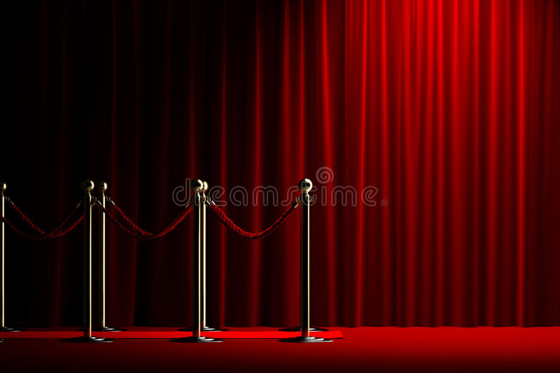 Rope barrier with red carpet and curtain stock photos