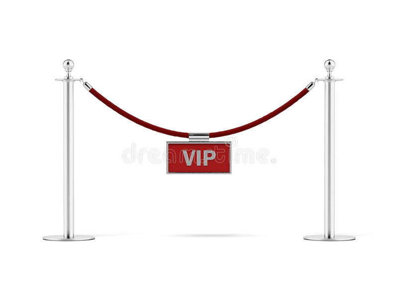 Rope barrier with a vip sign stock illustration