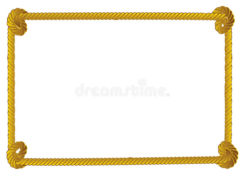 Rope border. Yellow rope frame, border on white background