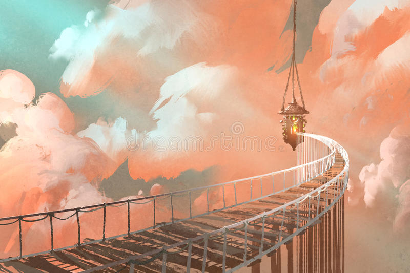 Rope bridge leading to the hanging lantern in a clouds vector illustration