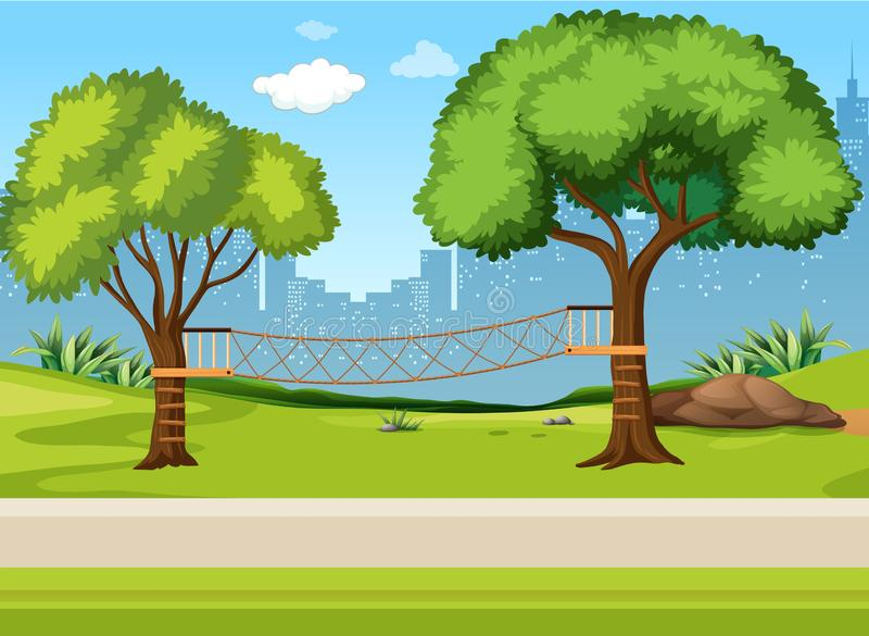 A rope bridge playground royalty free illustration