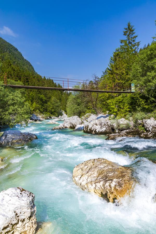 Rope bridge on the river Soca, Triglavski national park, Slovenia. Alpine, alps, background, beautiful, colorful, environment, europe, forest, idyllic, julian royalty free stock image