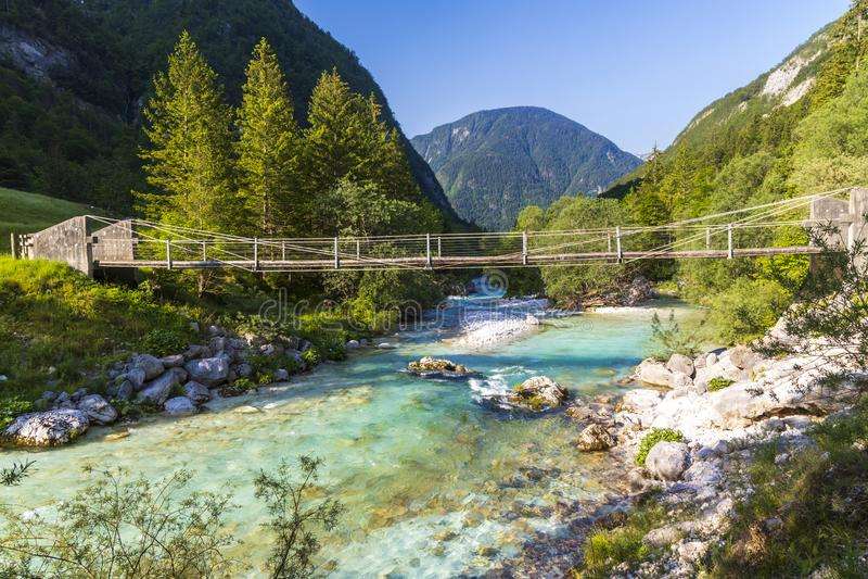 Rope bridge on the river Soca, Triglavski national park, Slovenia. Alpine, alps, background, beautiful, colorful, environment, europe, forest, idyllic, julian stock photo