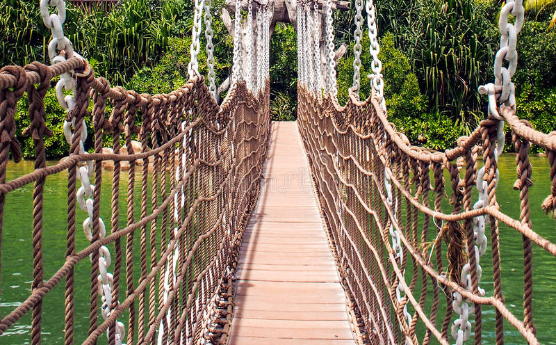 Rope Bridge to Foward stock photo