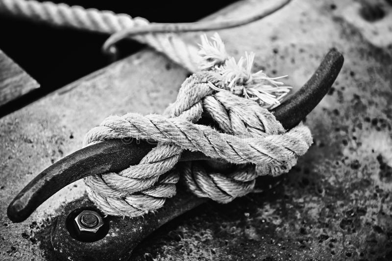 Rope on cleat royalty free stock image