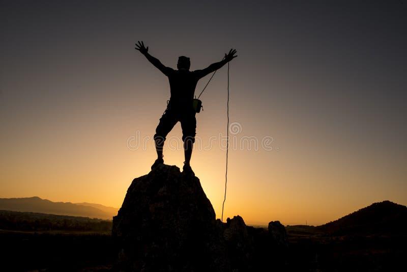 Rope climbing success royalty free stock photos