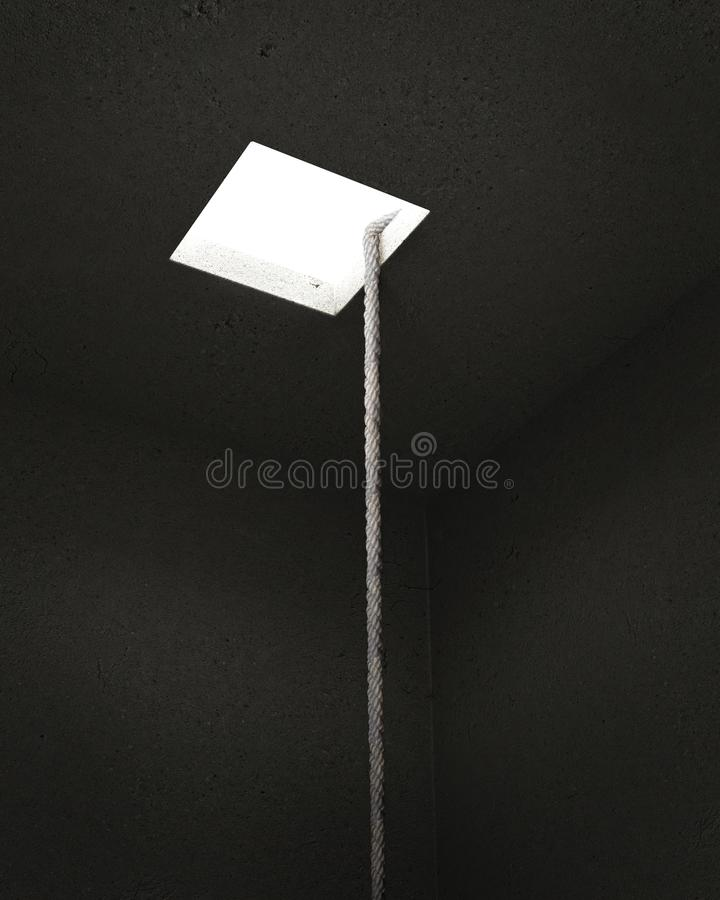 Rope in a dark gray cellar leading to the light. The concept of freedom. 3D illustration vector illustration