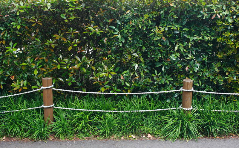 Rope fence in garden. Rope barrier in garden outdoor royalty free stock photo