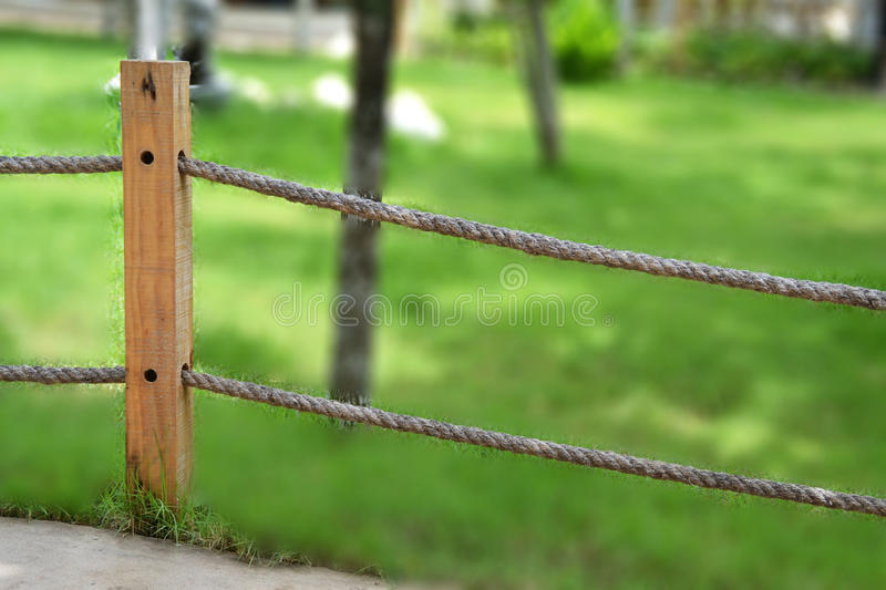 Rope fence in garden stock image Image of path green 32809751