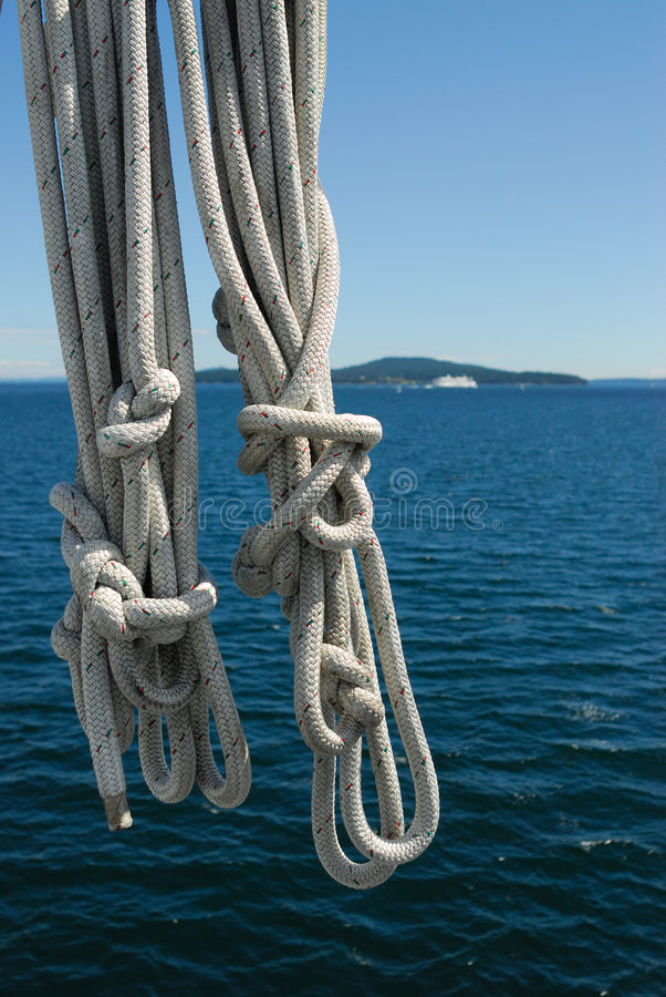 Rope in ferry. Safety ropes in a BC ferry in the way to victoria, british columbia, canada stock photo