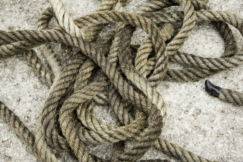 Rope with fiber knots royalty free stock images