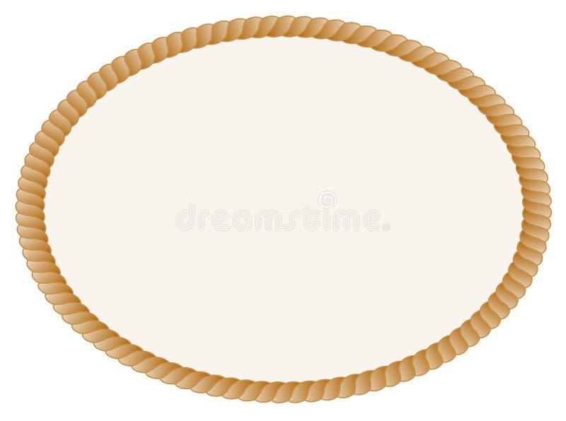 Rope frame. Oval shaped rope frame / border isolated on white background