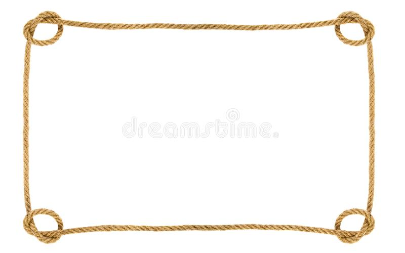 Rope frame isolated on white background stock photography