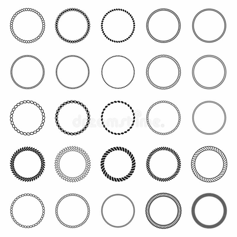 Free Rope Frame. Set Of Round Vector Frames From Nautical Rope. Round Marine Rope For Decoration Stock Image - 96474441