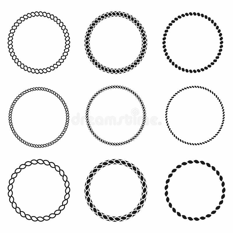 Rope frame. Set of round vector frames from nautical rope. Round marine rope for decoration vector illustration