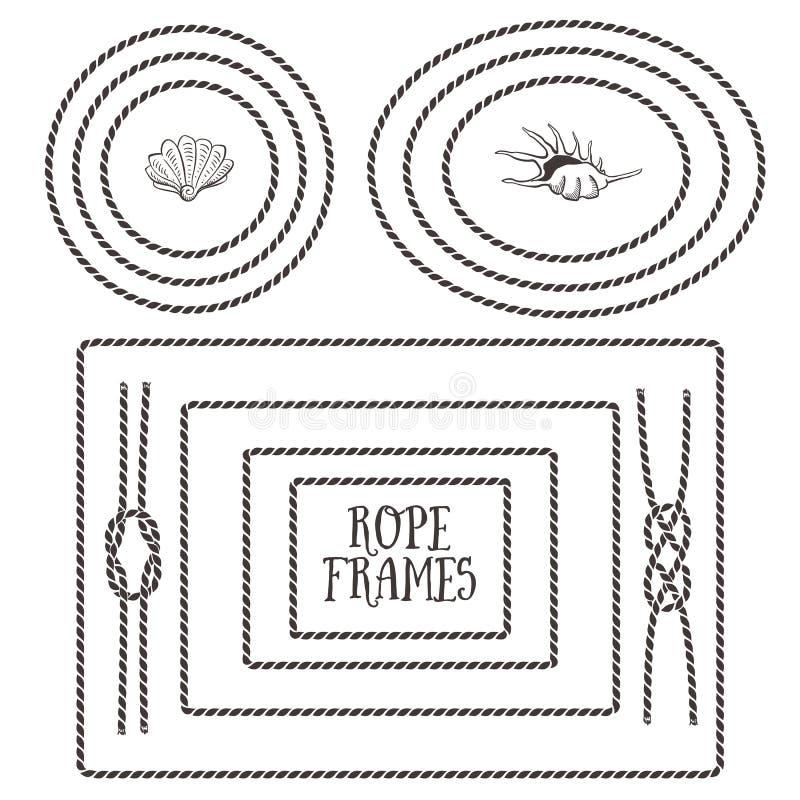 Rope frames, borders, knots. Hand drawn decorative elements stock illustration