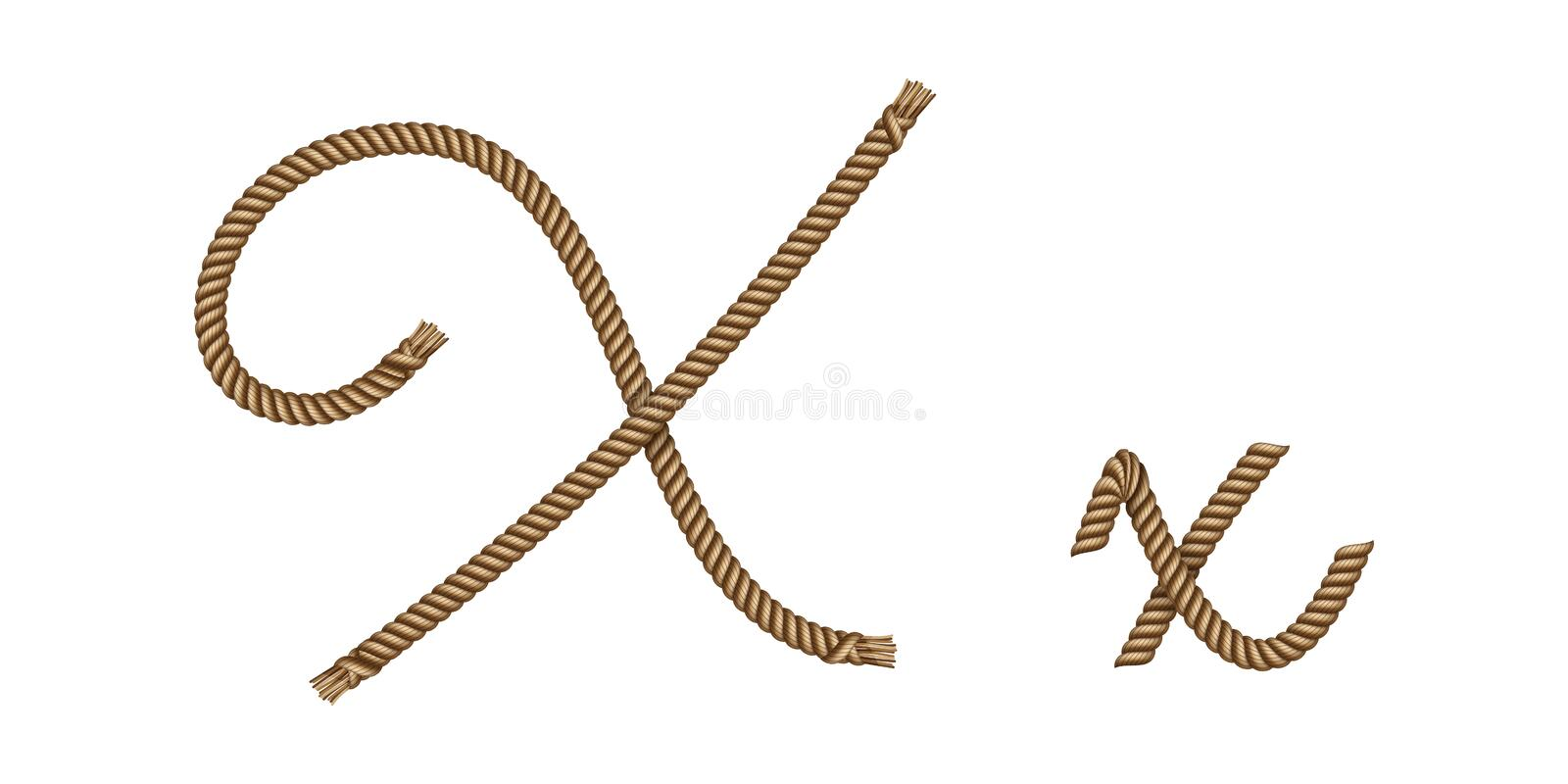 Rope hand drawn letter X royalty free illustration