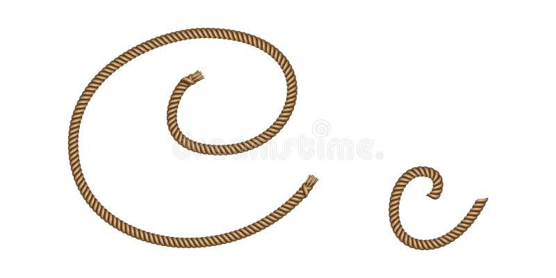 Rope hand drawn letter C vector illustration