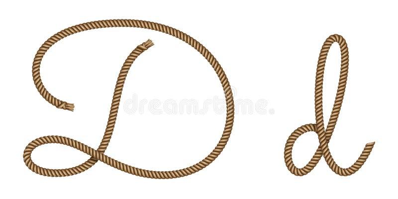 Rope hand drawn letter D vector illustration