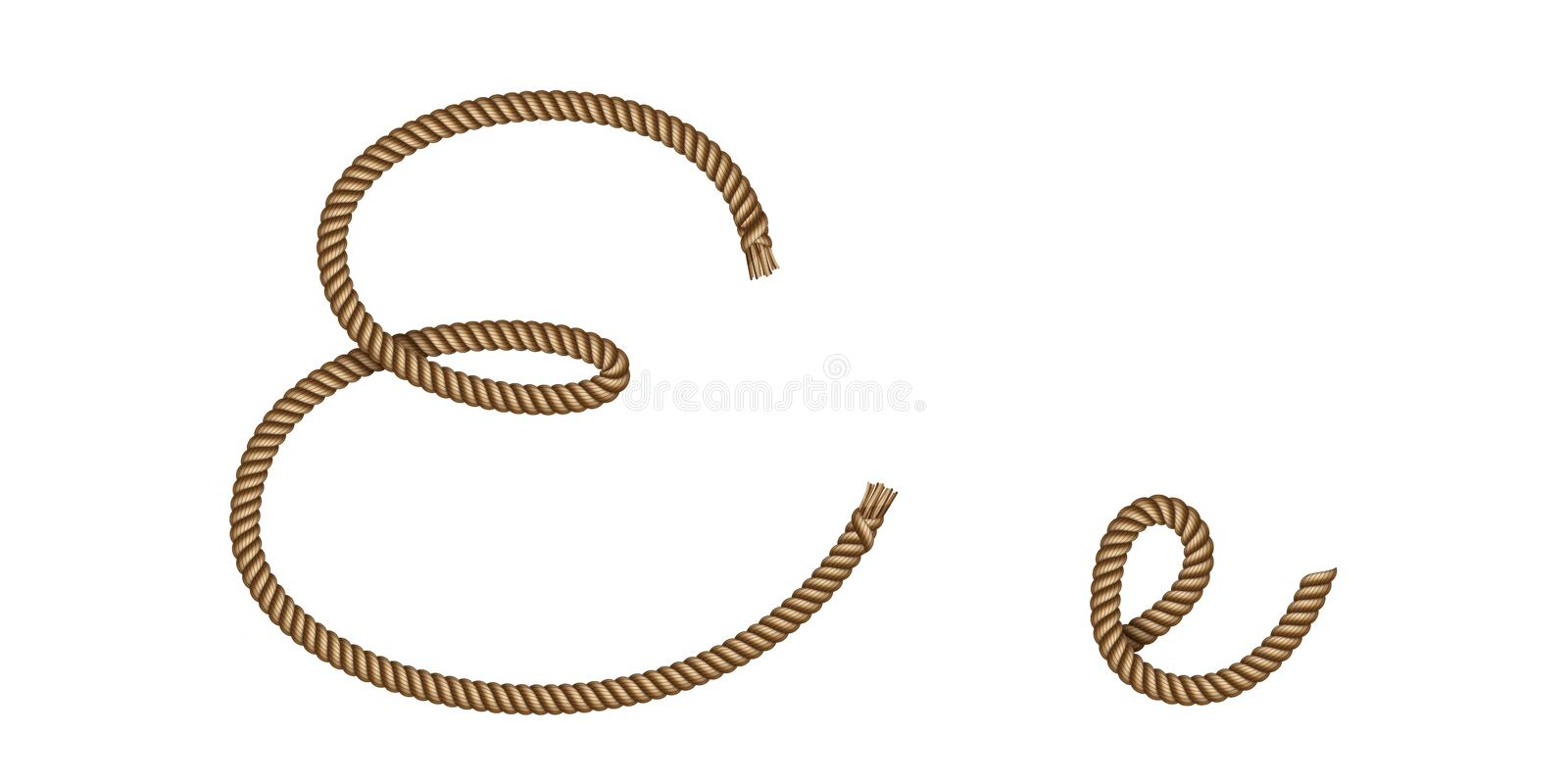 Rope hand drawn letter E royalty free illustration