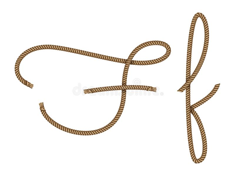 Rope hand drawn letter F stock illustration