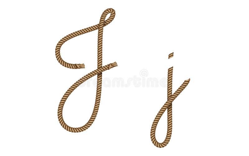 Rope hand drawn letter J royalty free illustration