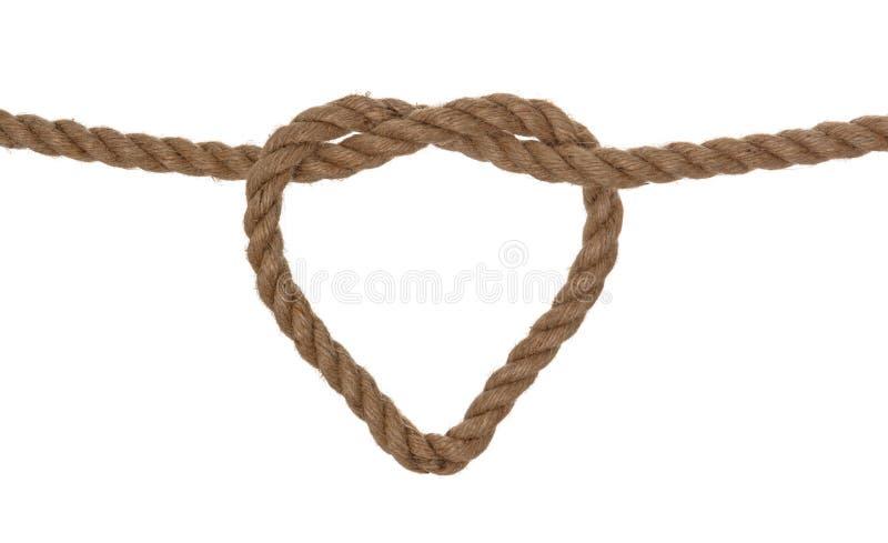 Rope heart shaped symbol stock image