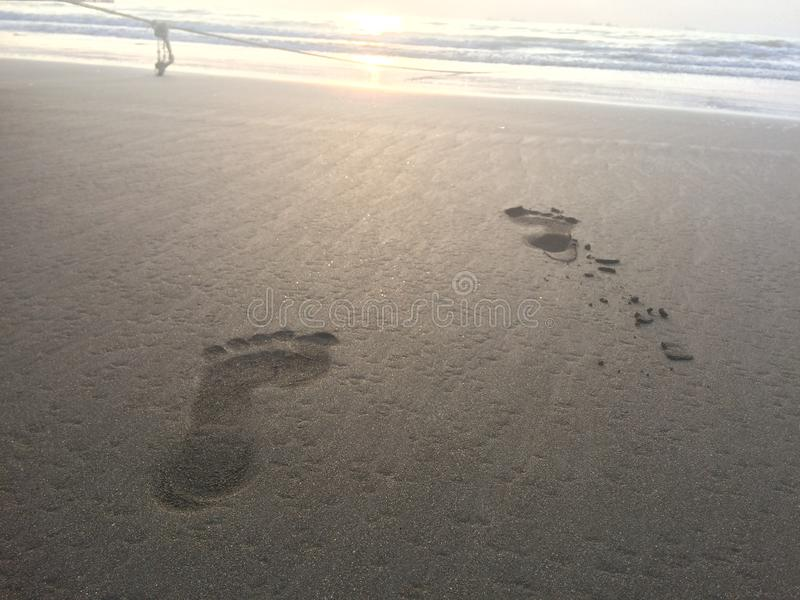 Footprints on the beach, on white sand swept away by the ocean waves and rope. Rope and human footprints on the shore royalty free stock photos
