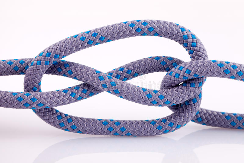 Rope knot with loop. On white background stock photos