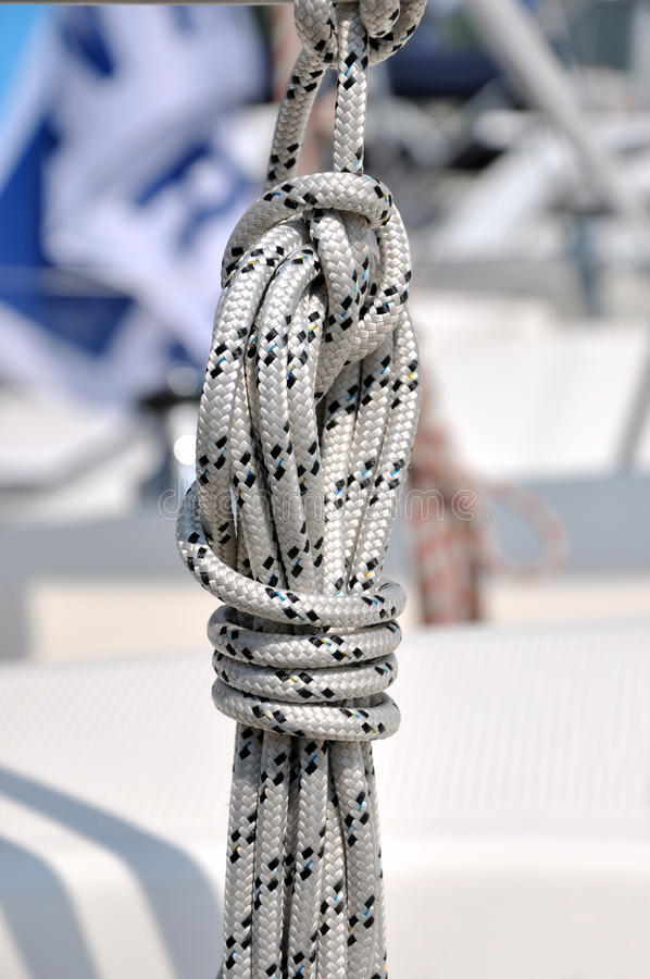 Rope knot of yacht stock images