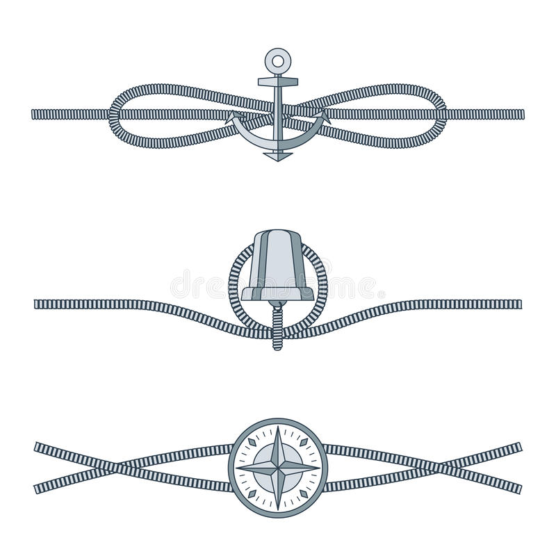 Rope Knots Collection with Decorative Elements. On white background. Vector illustration of marine cordage unit with mariner s compass, silver bell and vector illustration