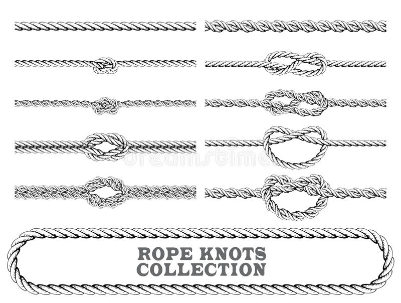 Rope knots collection. Overhand, Figure of eight and square knot. Seamless decorative elements. stock illustration