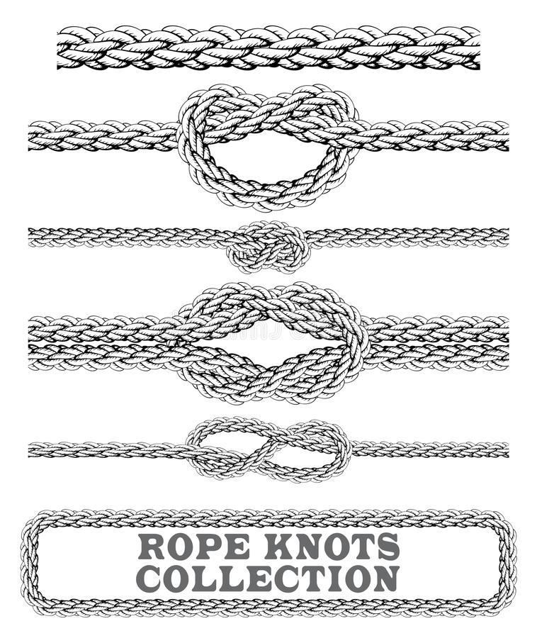Rope knots collection. Overhand, Figure of eight and square knot. Seamless decorative elements. royalty free illustration