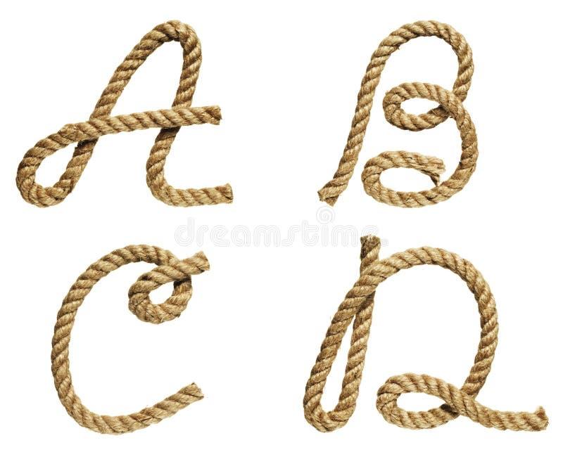 Rope la letra de formación A, B, C, D foto de archivo