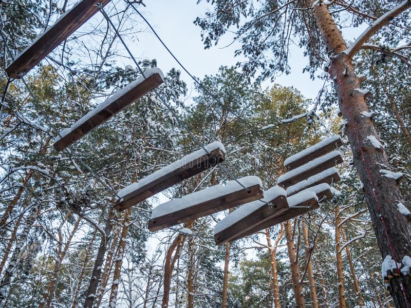 Rope ladder for Santa Claus covered with snow, Novosibirsk, Russia.  royalty free stock images