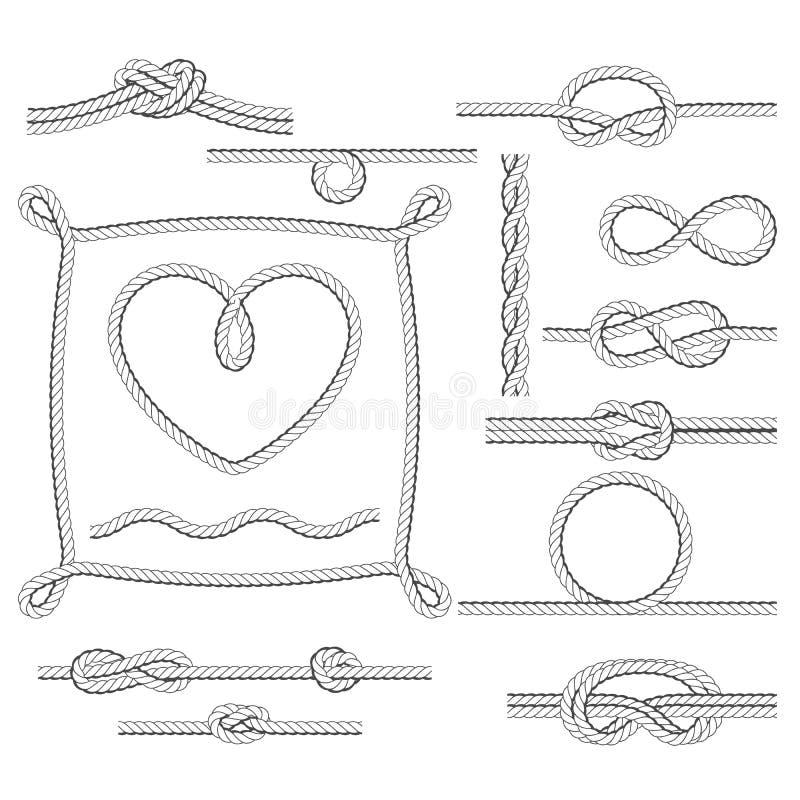 Rope le strutture ed i nodi - confini ed angoli illustrazione di stock