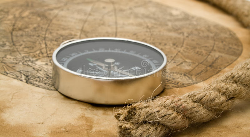 Download Rope, map and compass stock photo. Image of scroll, backdrop - 15167624
