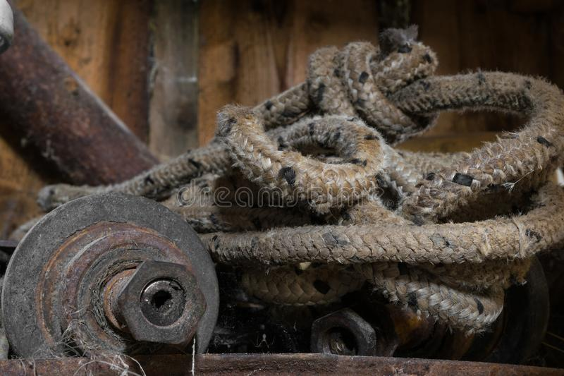 Rope and metal rural object royalty free stock photos