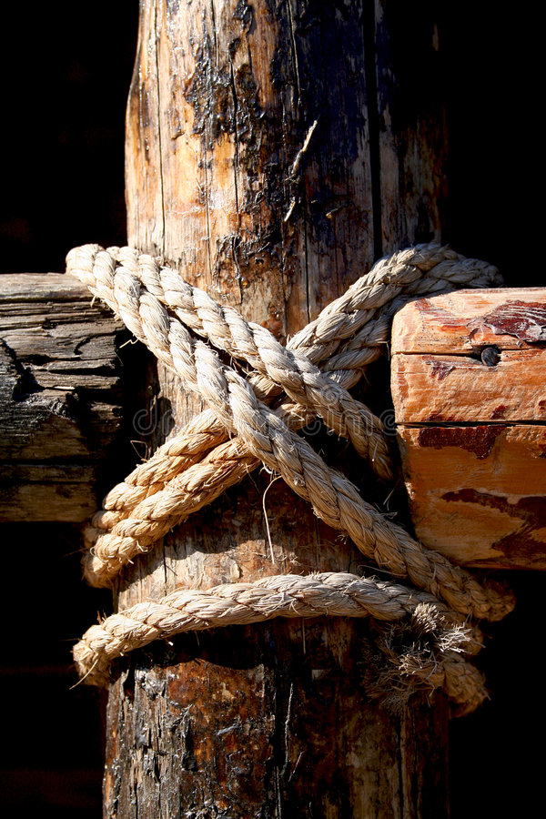 Rope, nail and wooden surface royalty free stock photos