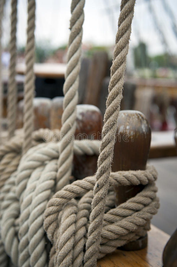 Rope on the old boat stock images