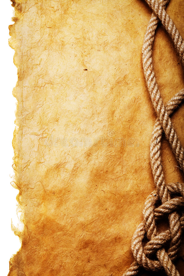 Download Rope on old paper stock photo. Image of parchment, background - 4890006