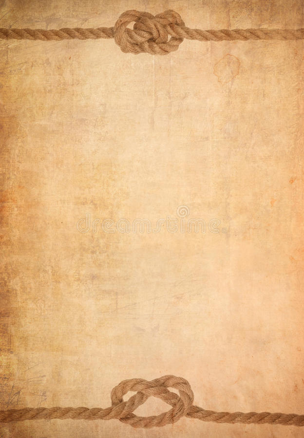 Free Rope On Old Paper Parchment Background Royalty Free Stock Photos - 25194608