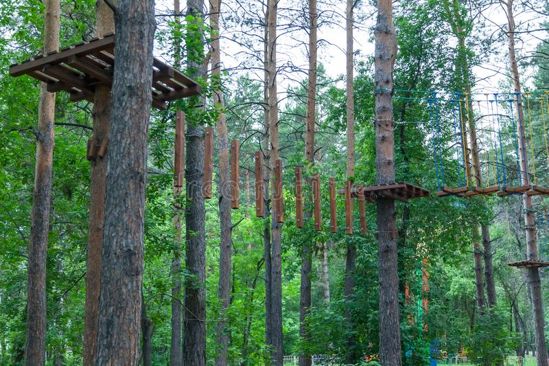 Rope park in the city forest with trees and cables for fun and extreme relaxation. Sports equipment on trunks with branches and royalty free stock image