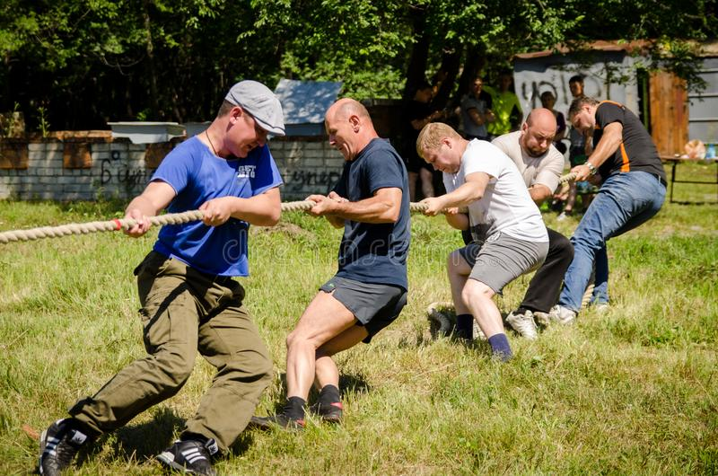 Rope pulling in the competition amateurs royalty free stock image