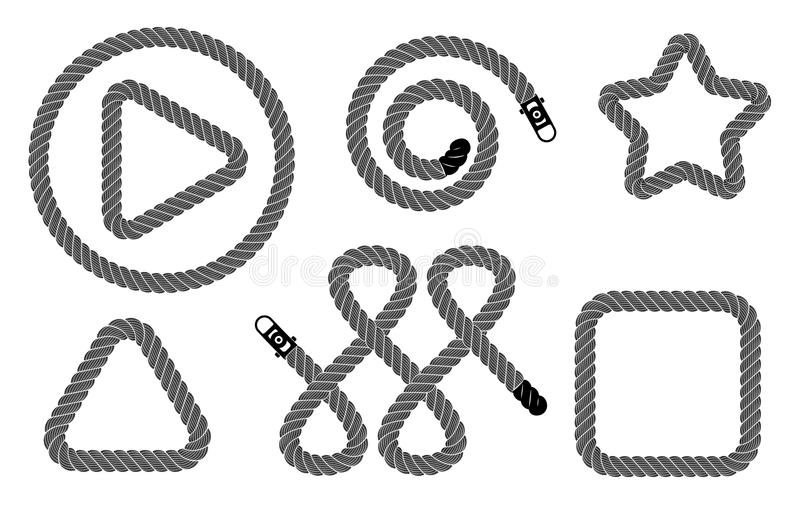 Rope realistic weaving figure set, simple style vector illustration
