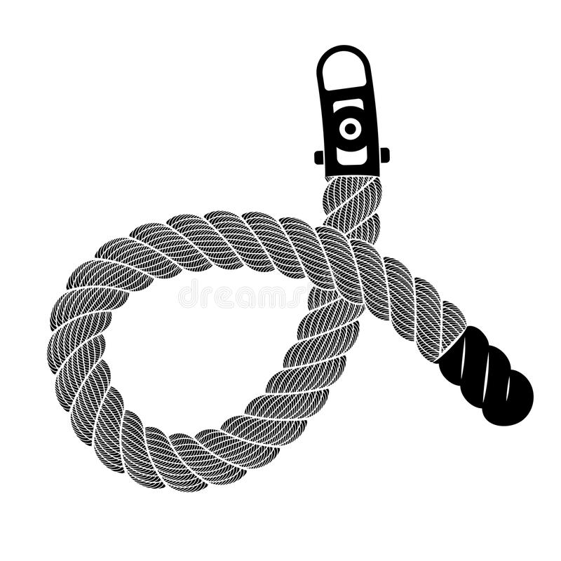 Rope realistic weaving knot loop, simple style vector illustration
